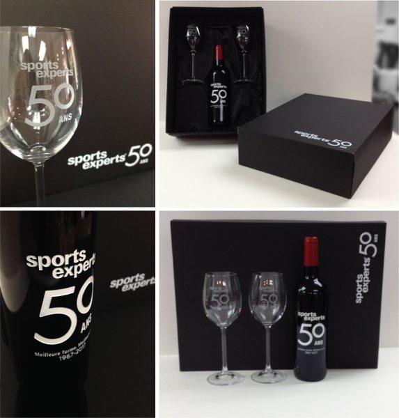 Gravure au Jet de Sable sur coupe et bouteille de vin avec boite cadeau noir intérieur satin, impression en sérigraphie