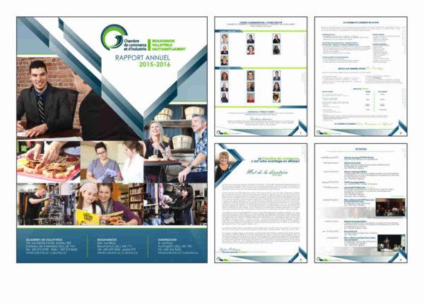 Conception graphique du rapport annuel de la Chambre de Commerce