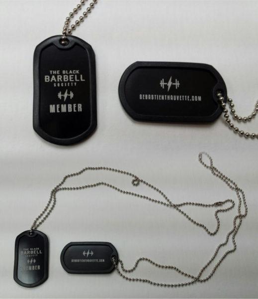 Plaque d'identification style militaire avec gravure au laser