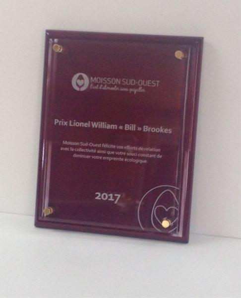 Plaque de Reconnaissance avec gravure sur acrylique sur bois de rose pour Moisson Sud-Ouest