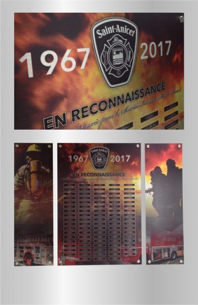 Conception graphique et Impression métal pour une plaque de Reconnaissance du Service Incendie de St-Anicet
