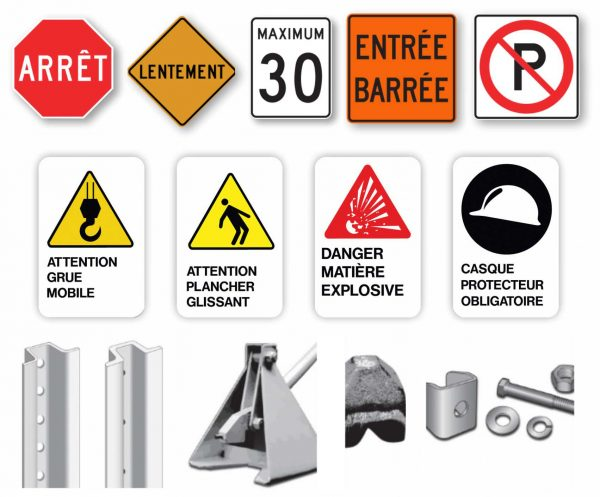 Signalisation routière et de chantier avec poteaux et quincaillerie