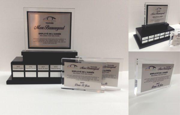 Trophée Perpétuel d'Entreprise avec base en bois et sublimation sur métal collée sur un acrylique