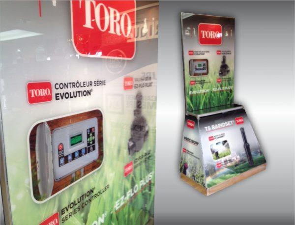 Conception Graphique pour impression sur acrylique d'un kiosque de présentation de produits