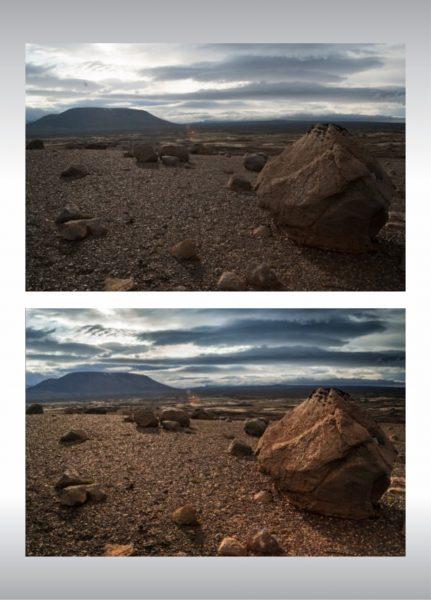 retouche photo d'un paysage, avant et après