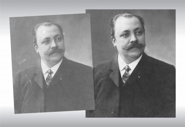 retouche photo d'un portrait antique, avant et après