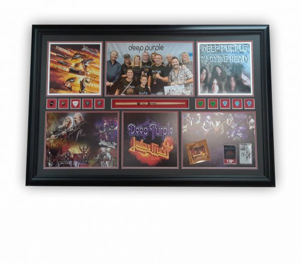 Custom framing with integration of vinyl sleeves, photo montages, guitar picks and a baguette.