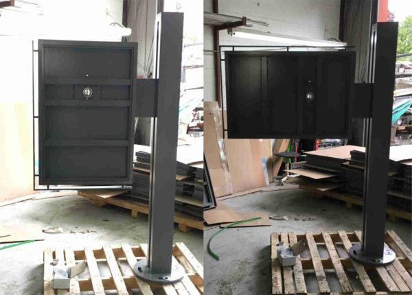 Module d'exposition double face à double orientation en construction