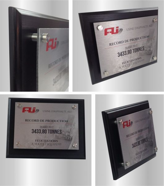 Wooden Recognition Plaque with graphic design for metal printing fixed with 4 standoff
