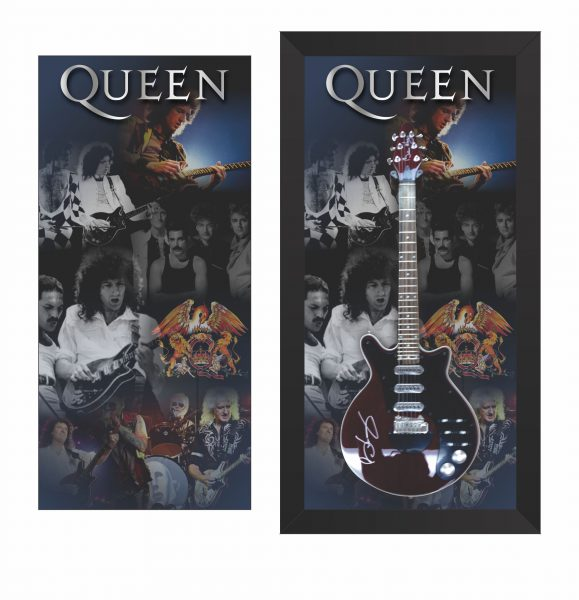 Graphic editing with metal printing for guitar framing