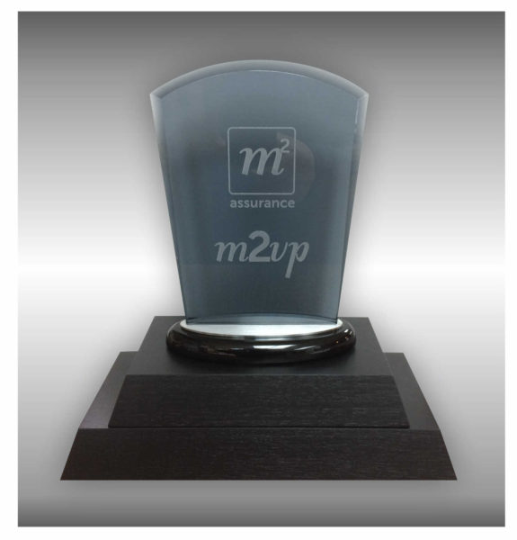 Glass plaque engraved on wooden base for perpetual trophy